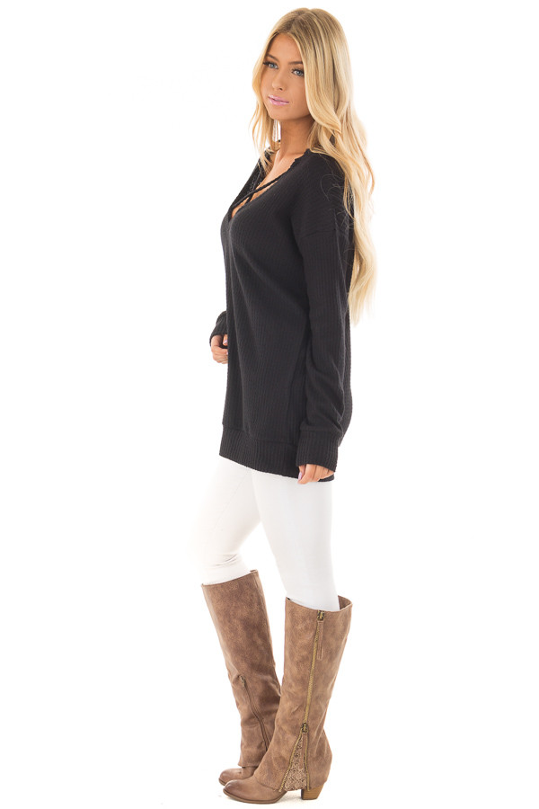 Black Waffle Knit Top with Neckline Details side full body