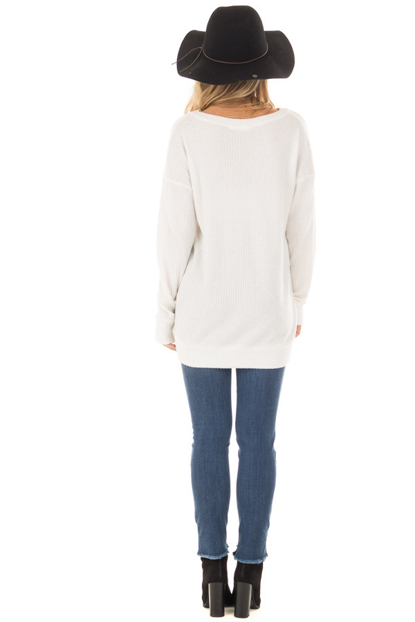 Off White Waffle Knit Top with Neckline Details back full body