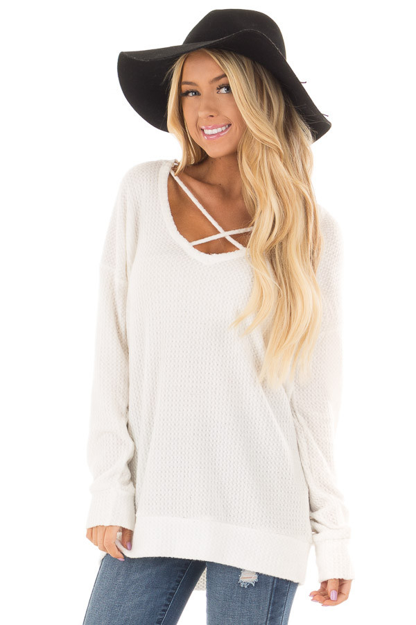 Off White Waffle Knit Top with Neckline Details front close up