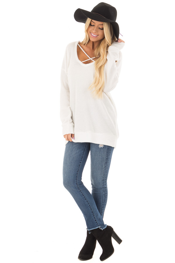 Off White Waffle Knit Top with Neckline Details front full body