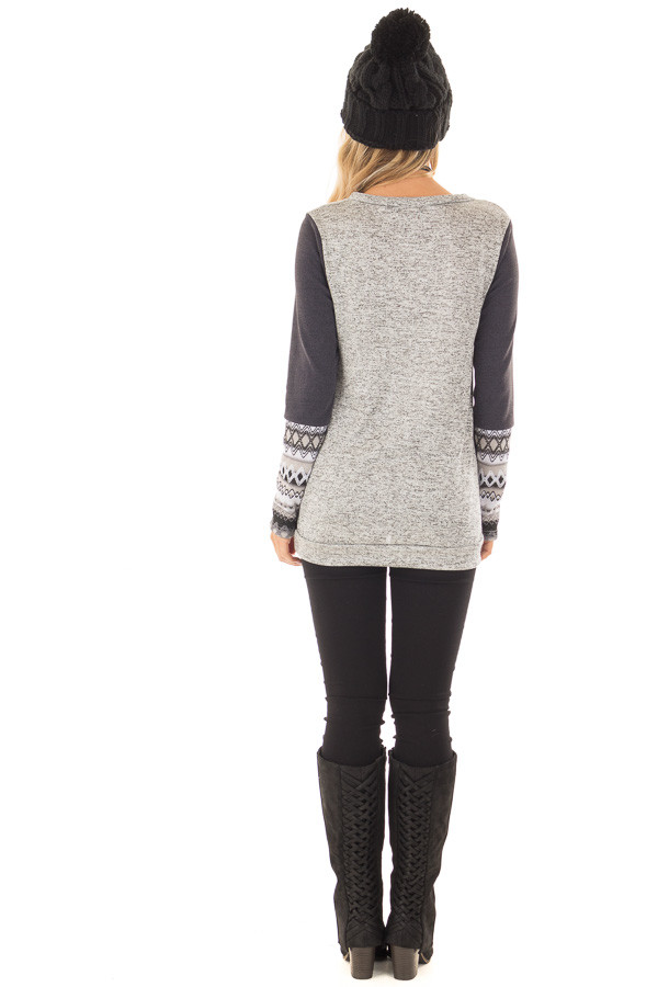 Heather Grey Two Tone Top with Navy Sleeve Details back full body
