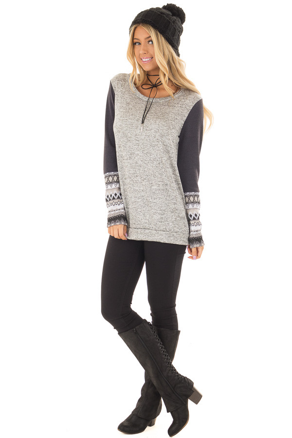 Heather Grey Two Tone Top with Navy Sleeve Details front full body