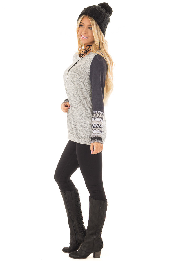 Heather Grey Two Tone Top with Navy Sleeve Details side full body