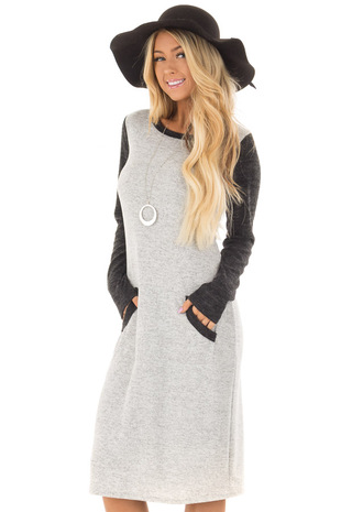 Heather Grey Long Sleeve Dress with Kangaroo Pocket front closeup