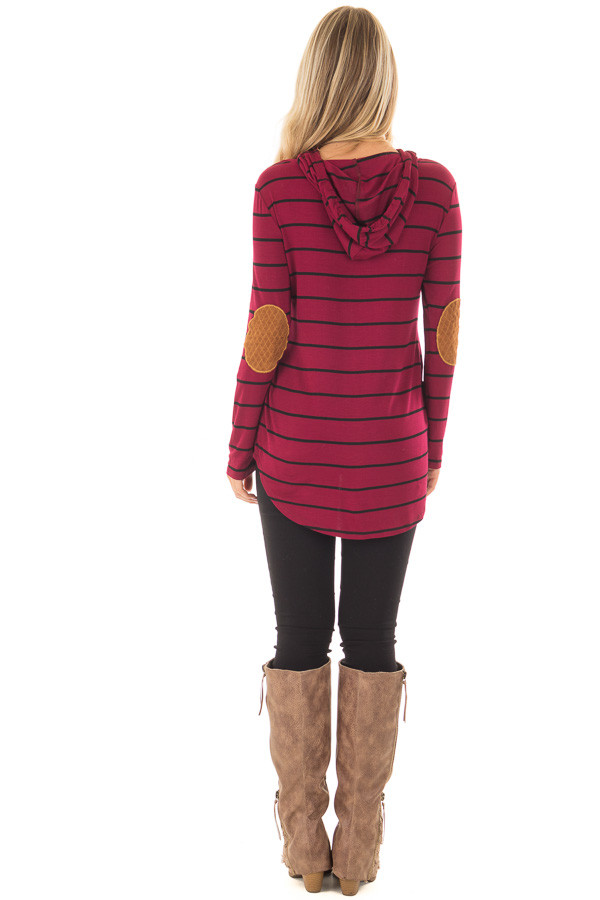 Burgundy and Black Striped Hoodie with Elbow Patches bck full body