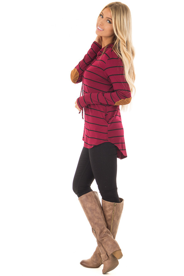 Burgundy and Black Striped Hoodie with Elbow Patches side full body
