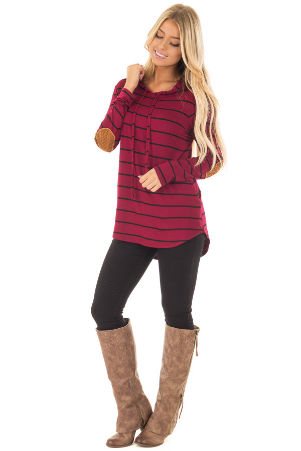 Burgundy and Black Striped Hoodie with Elbow Patches front full body