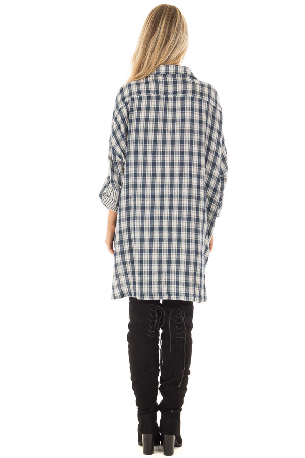 Navy Plaid Oversized Button Down with Roll Up Sleeves back full body
