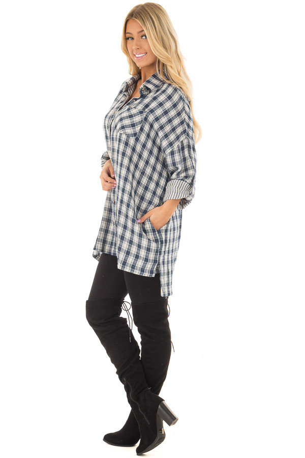 Navy Plaid Oversized Button Down with Roll Up Sleeves side full body