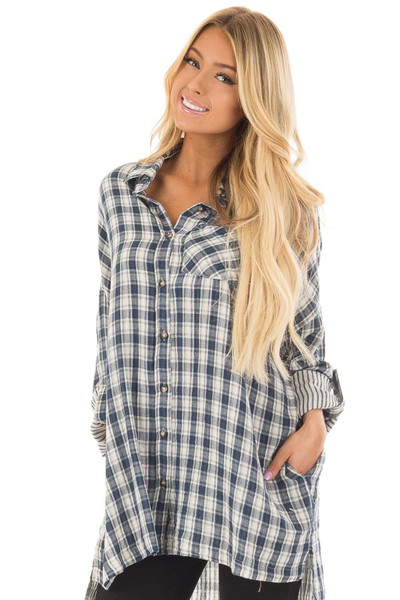 Navy Plaid Oversized Button Down with Roll Up Sleeves front closeup