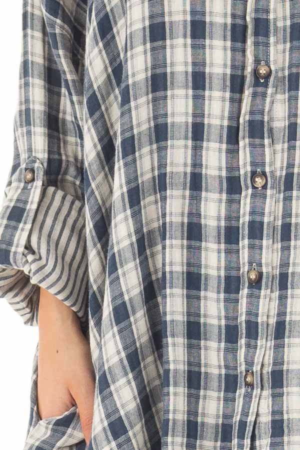 Navy Plaid Oversized Button Down with Roll Up Sleeves front detail