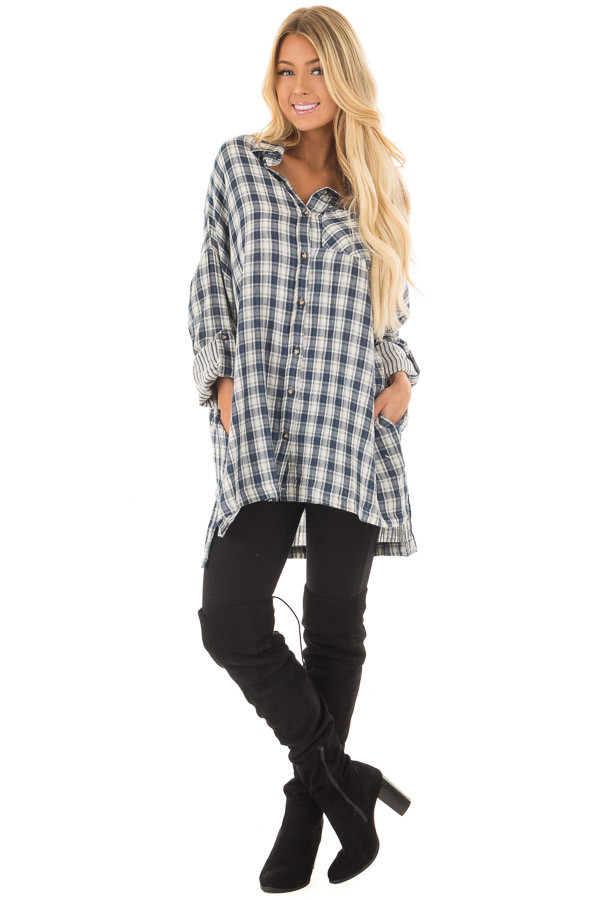 Navy Plaid Oversized Button Down with Roll Up Sleeves front full body