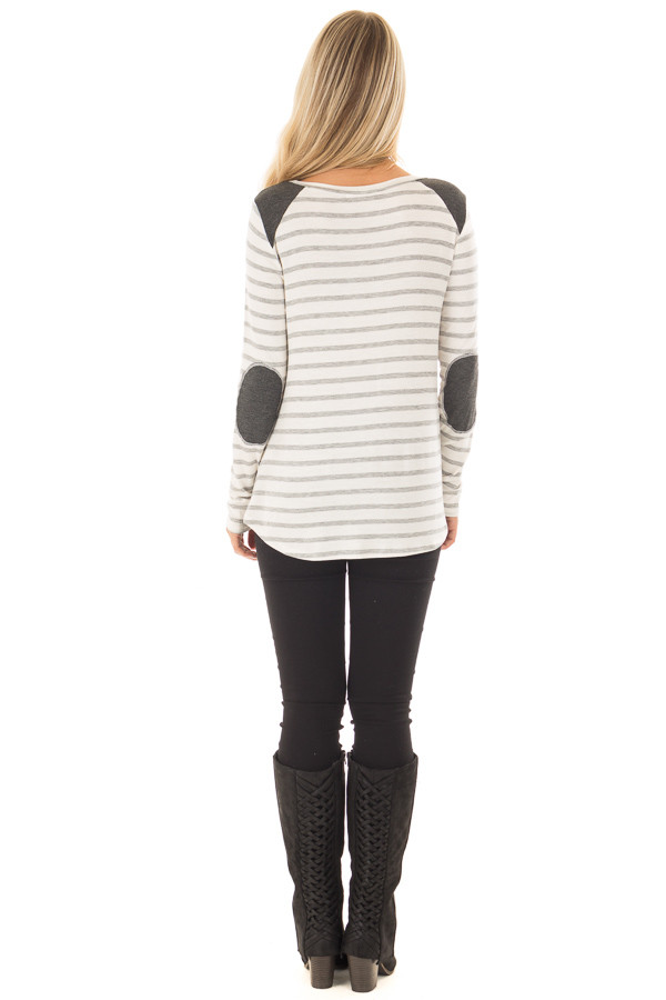 Ivory Striped Long Sleeve Top with Charcoal Details back full body