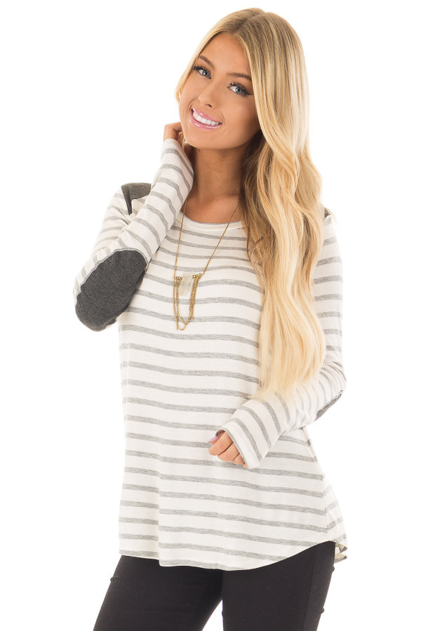 Ivory Striped Long Sleeve Top with Charcoal Details front closeup