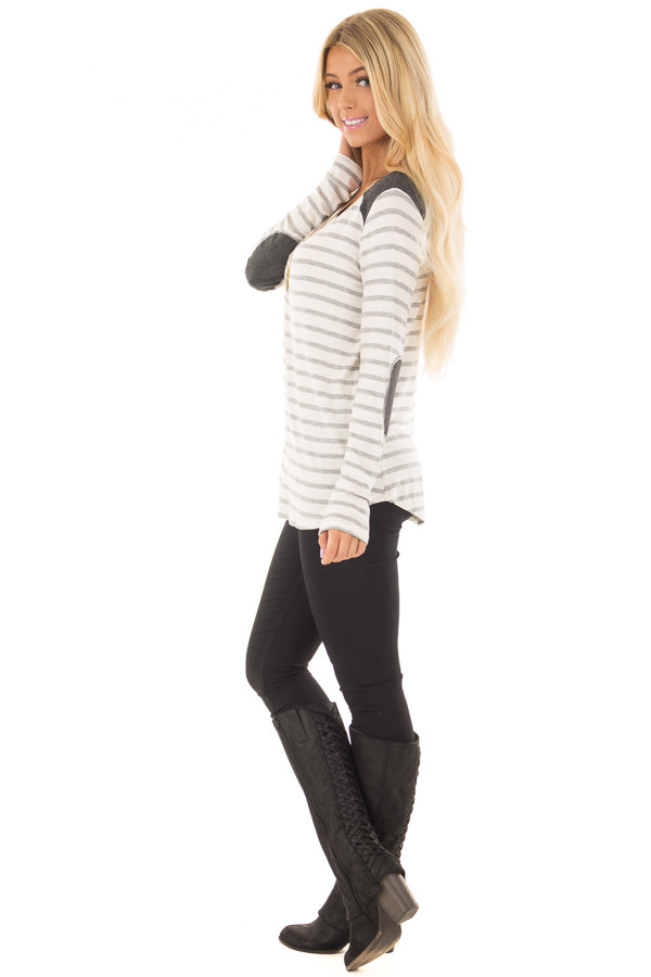 Ivory Striped Long Sleeve Top with Charcoal Details side full body
