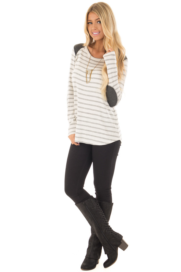 Ivory Striped Long Sleeve Top with Charcoal Details front full body