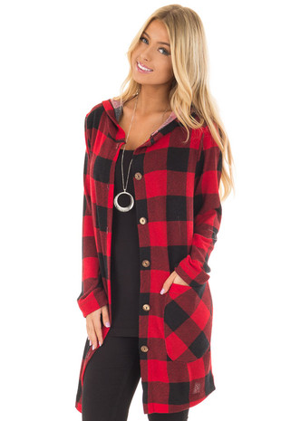 Red and Black Plaid Button Up Hooded Cardigan front closeup