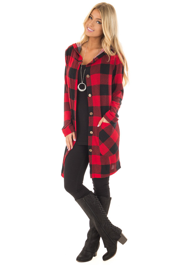 Red and Black Plaid Button Up Hooded Cardigan - Lime Lush Boutique