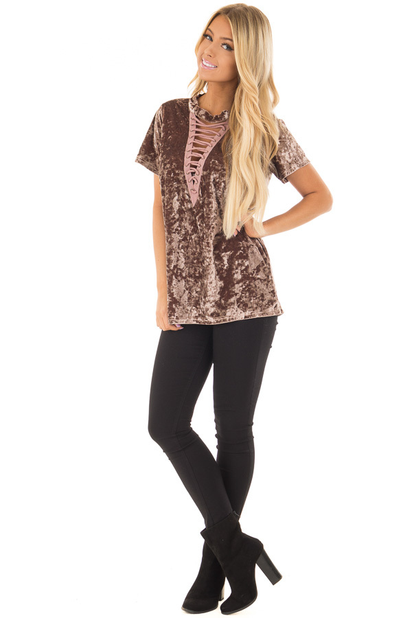 Dark Mauve Velvet Top with Lace Up Neckline front full body