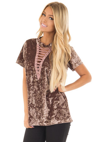 Dark Mauve Velvet Top with Lace Up Neckline front closeup