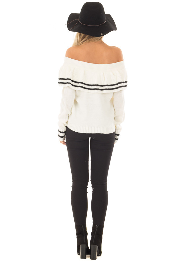 Ivory Long Sleeve Off the Shoulder Top with Ruffle Detail back full body