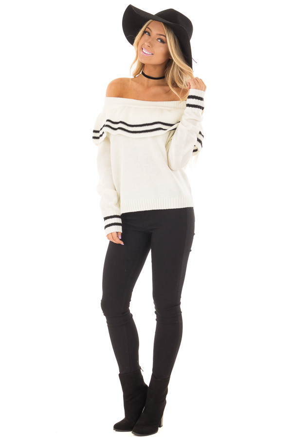 Ivory Long Sleeve Off the Shoulder Top with Ruffle Detail front full body