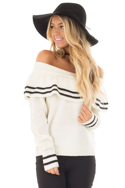 Ivory Long Sleeve Off the Shoulder Top with Ruffle Detail front closeup