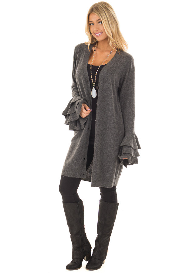Charcoal Layered Bell Long Sleeve Button Up Cardigan front full body