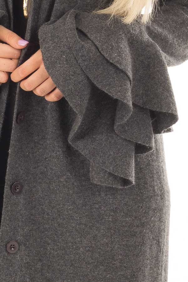 Charcoal Layered Bell Long Sleeve Button Up Cardigan front detail