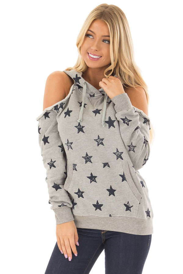Heather Grey Cold Shoulder Hoodie with Navy Star Detail front close up
