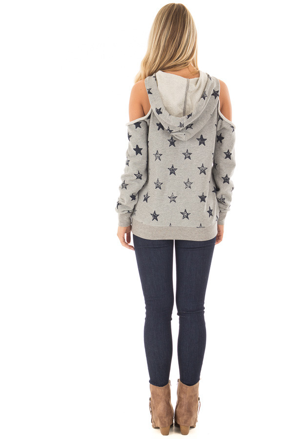 Heather Grey Cold Shoulder Hoodie with Navy Star Detail back full body
