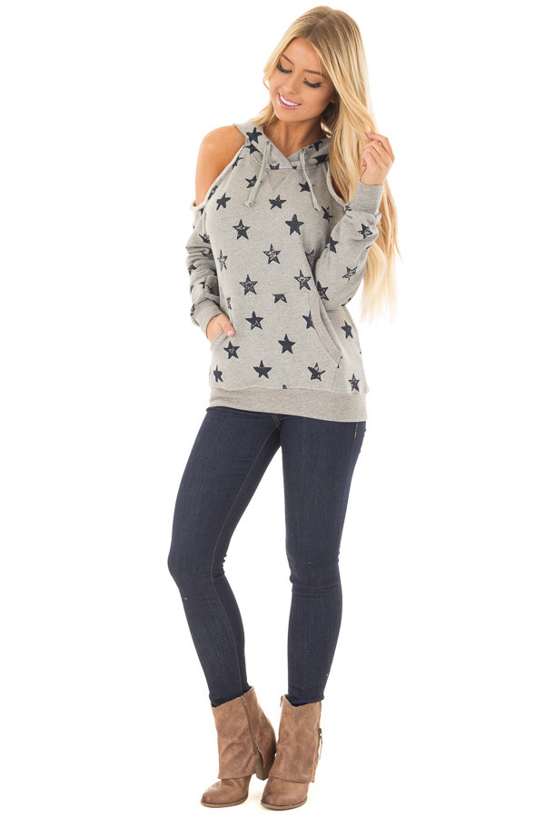 Heather Grey Cold Shoulder Hoodie with Navy Star Detail front full body