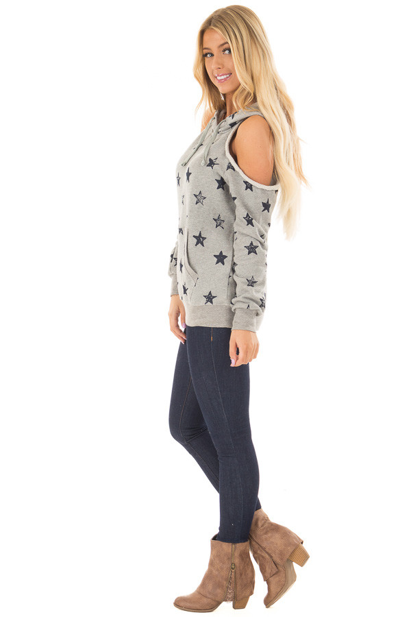 Heather Grey Cold Shoulder Hoodie with Navy Star Detail side full body