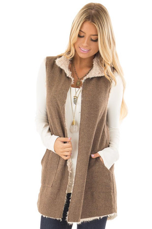 Mocha and Taupe Faux Fur Reversible Vest with Pockets front closeup