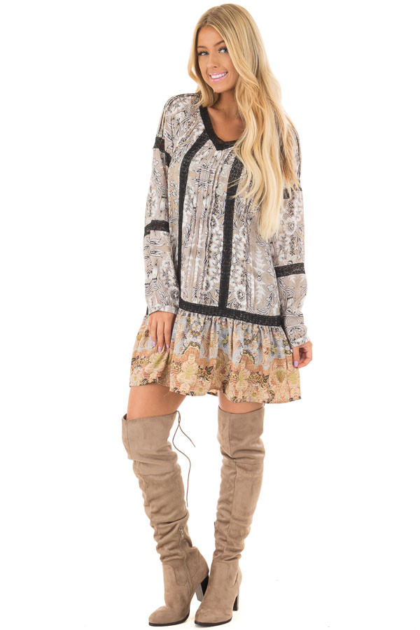 Heather Grey Floral Print Dress with Sheer Lace Detail front full body