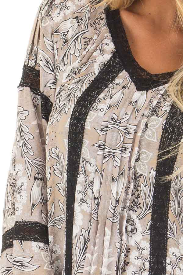 Heather Grey Floral Print Dress with Sheer Lace Detail front detail