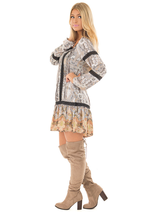 Heather Grey Floral Print Dress with Sheer Lace Detail side full body
