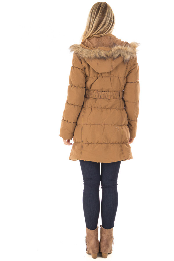 Camel Coat with Faux Fur Lined Hood and Detachable Belt back full body