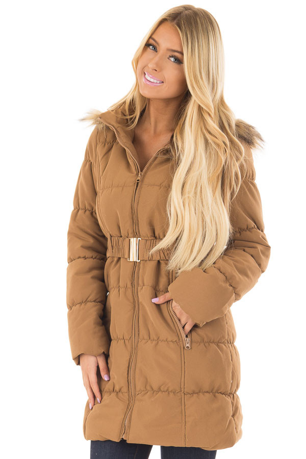 Camel Coat with Faux Fur Lined Hood and Detachable Belt front closeup