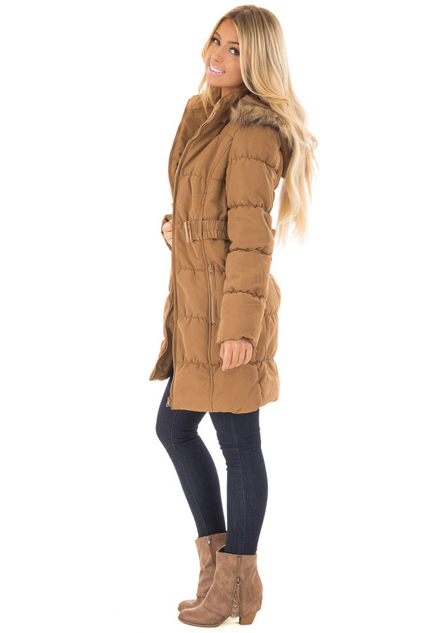 Camel Coat with Faux Fur Lined Hood and Detachable Belt side full body