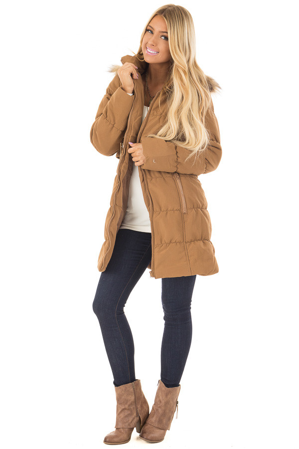 Camel Coat with Faux Fur Lined Hood and Detachable Belt front full body