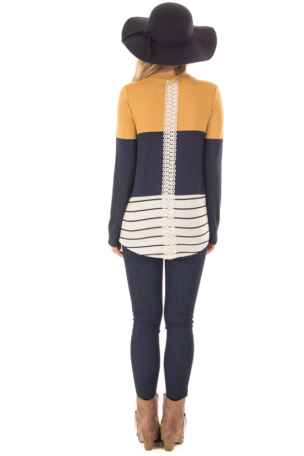 Mustard Color Block Top with Crochet Back Details back full body