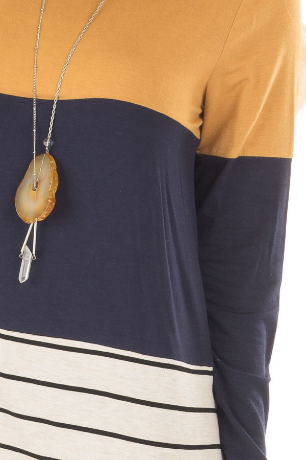 Mustard Color Block Top with Crochet Back Details front detail