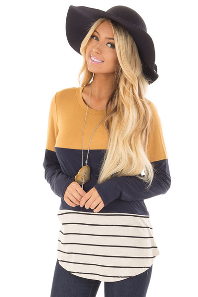 Mustard Color Block Top with Crochet Back Details front closeup