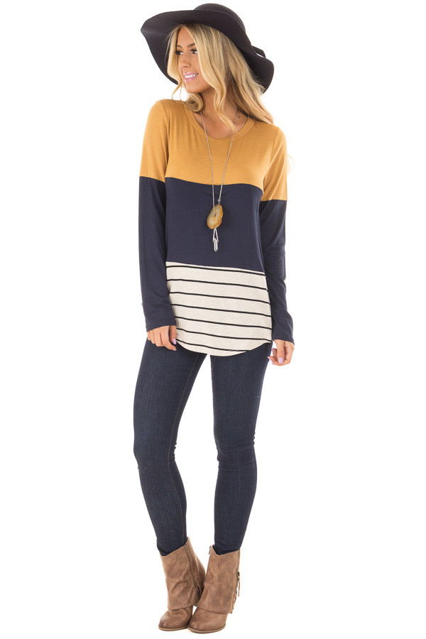Mustard Color Block Top with Crochet Back Details front full body
