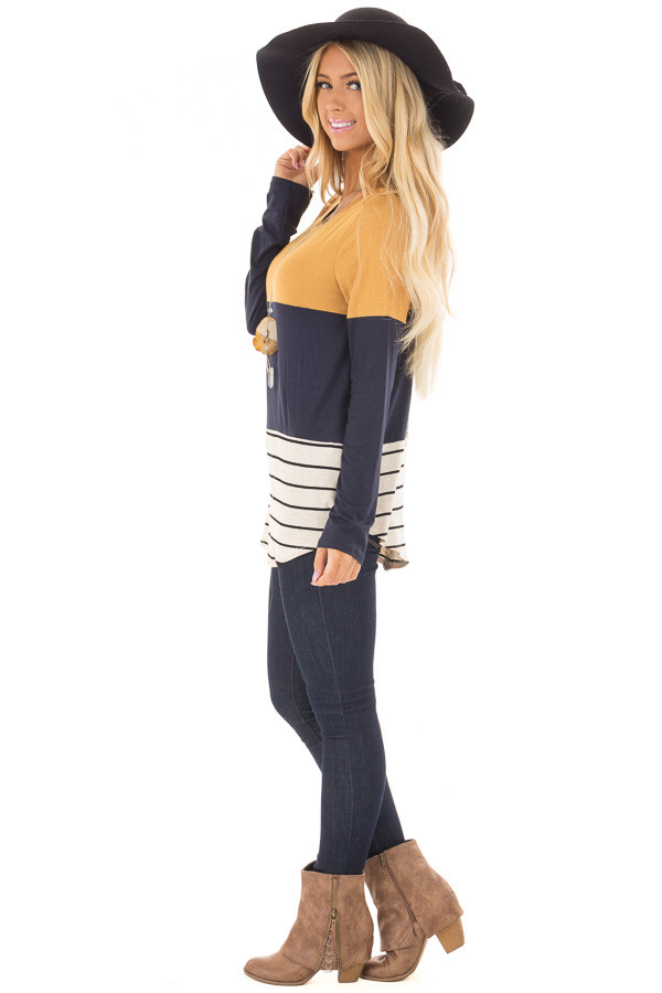 Mustard Color Block Top with Crochet Back Details side full body
