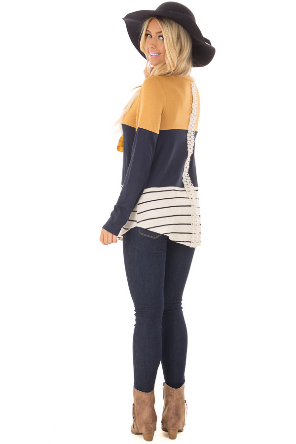 Mustard Color Block Top with Crochet Back Details over the shoulder full body