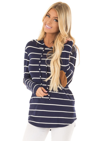 Navy and Ivory Striped Hoodie with Elbow Patches front close up