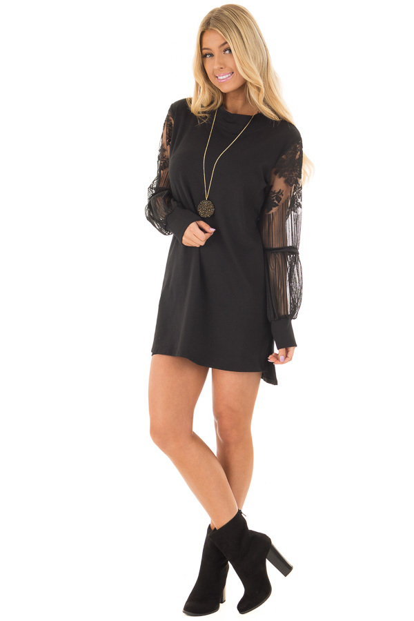 Black Dress with Sheer Lace Bubble Sleeves front full body