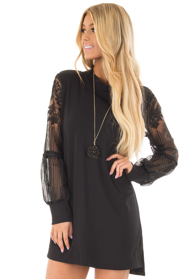 Black Dress with Sheer Lace Bubble Sleeves front closeup